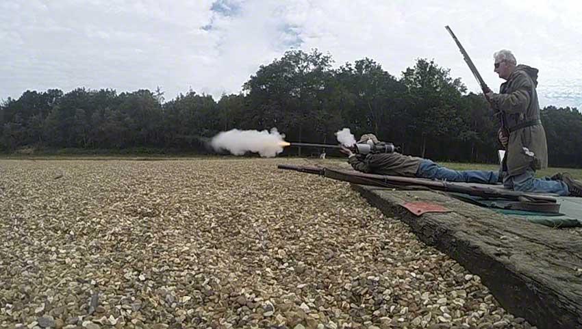 15. Flintlock: flame and smoke emerge.