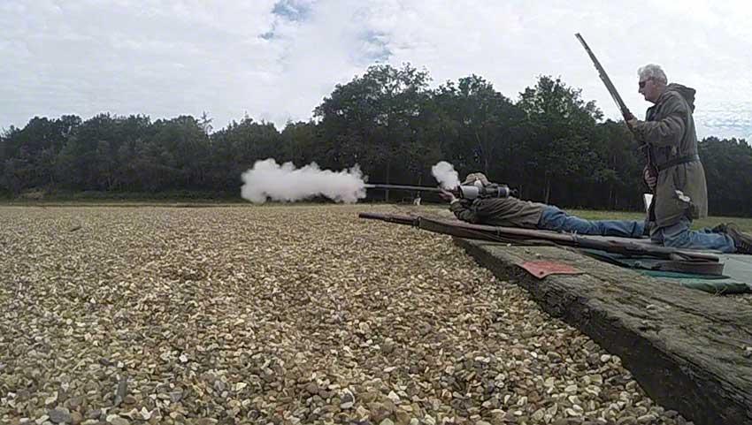 16. Flintlock: smoke continues to emerge.