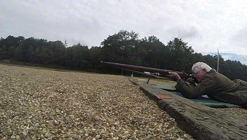Enfield Volunteer Rifle: Hammer approaching cap.