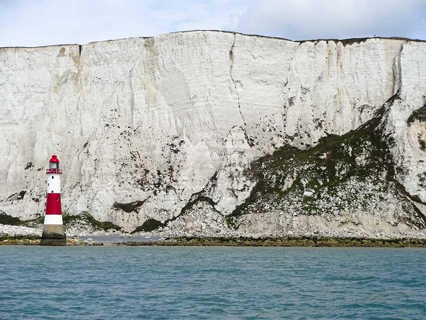 Beachy Head lighthouse and chalk cliffs.